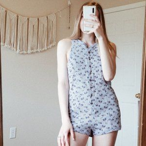 UO OUT FROM UNDER Floral Button Thermal Romper S